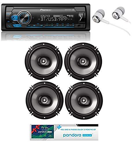 Pioneer MVH-S310BT Built-in Bluetooth, MIXTRAX, USB, Spotify, iPhone, Android Smart Sync, Car Digital Media Receiver w/Pandora Premium Trial + (4) 6.5' 2 Way Speaker Bundle