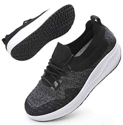DADAWEN Women's Walking Shoes Sock Sneakers Mesh Slip On Comfort Lightweight Lady Girls Wedge Platform Athletic Shoes Dark Grey US Size 7