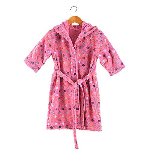 CHENGYI Reine Baumwolle Punkte Kind Bademantel Baby Herbst Und Winter Verdickung Badetuch (Color : Pink, Size : 70cm Long(Height 100-130cm))