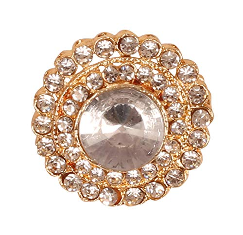 Touchstone New Indian Bollywood Romance Traditional Amazingly Crafted Rhinestone Vintage Designer Jewelry Round Shape Brooch In Gold Tone For Women.