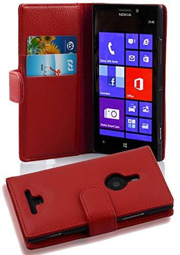 Cadorabo Hülle für Nokia Lumia 925 - Hülle in Inferno ROT – Handyhülle mit Kartenfach aus struktriertem Kunstleder - Case Cover Schutzhülle Etui Tasche Book Klapp Style