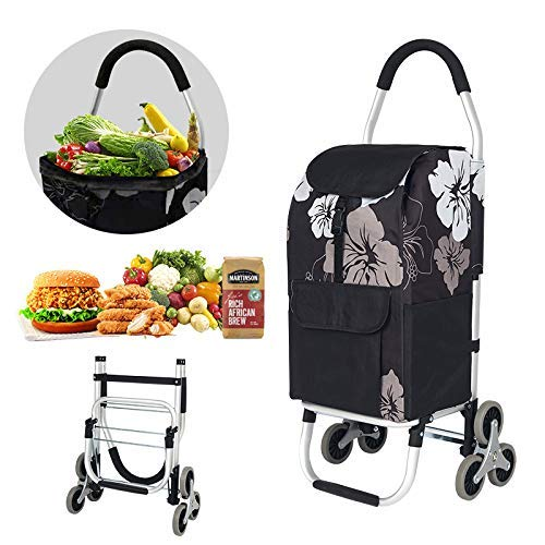 Totolot Folding Shopping Cart with Tri-Wheels for Stair Climbing, Grocery Shopping Cart with Cushion Handle, Removable Canvas Bag, Black.