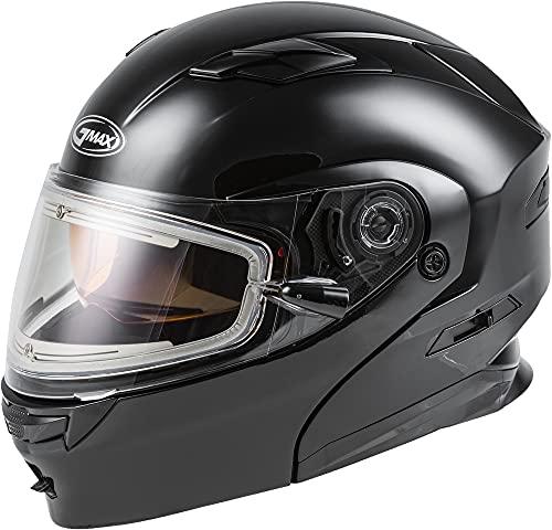 GMAX MD-01S, DOT Approved Modular Helmet, Electric Dual Lens Shield for Snow & Motor Sports, (BLACK, Medium)