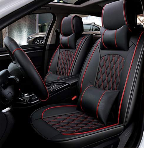 Ededi Leder Sitzbezüge-Set, Universal Gitter Autositzbezüge Set Voll Auto Vorderseite und Rückseite, 9-Teiliges Set (Farbe : Black+Red)