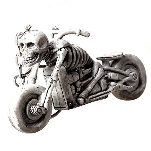 TOOGOO(R) Hellgrau Skelett in Motorrad-Anhaenger Schluesselanhaenger Dekoration