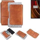 K-S-Trade® Schutz Hülle Für OnePlus 6T McLaren Edition Gürteltasche Gürtel Tasche Schutzhülle Handy Smartphone Tasche Handyhülle PU + Filz, Braun (1x)