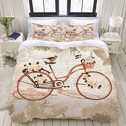 KASMILN Bedding Juego de Funda de Edredón,Cartel de Bicicleta Vintage,Microfibra Funda de Nórdico y Fundas de Almohada (Cama 220x240cm+Almohada 63X63cm)