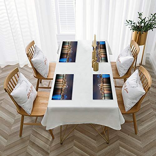 Mantelillos (juego de 4), lavables, antideslizantes,Detroit, el moderno paisaje urbano de la metrópoli en la ,30 x 45 cm resistentes al calor, antidesgaste, mantelillos para mesa de comedor, de cocina