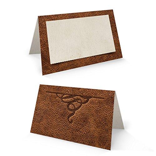 25 stuks kleine edele bruin-beige lederlook blanco tafelkaartjes naamkaartjes naamkaartjes zitkaarten plaatskaarten tafelstandaard voor tafeldecoratie voor alle feesten - voor elke pen