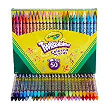 CRAYOLA TWISTABLES: One Crayola Twistable Colored Pencils Coloring Set with 50 Twistable Colored Pencils, exclusive to Amazon. PRE-SHARPENED PENCILS: No sharpening or peeling required, just twist up these drawing pencils to keep them sharp. STRONG & ...