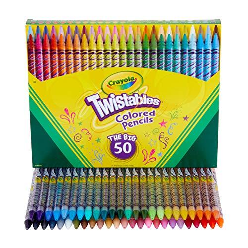 Crayola Twistables Colored Pencil Set, School Supplies, Coloring Gift,50 Count