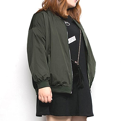 MSSHE Women's Loose Cycling jacket Plus Size Casual Bomber Jacket Green 3XL-Large 20W