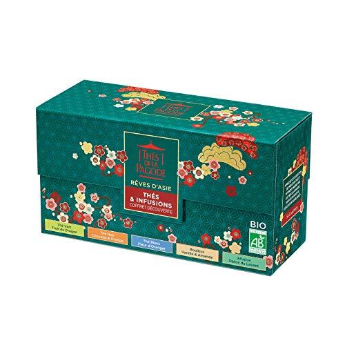 Thes de la Pagode - Asian Dreams Discovery Box - Te blanco de flor de naranja + Te verde de fruta del dragon + Te negro de naranja chocolate + Rooibos Vainilla Almond + Infusion detox - 25 sobres