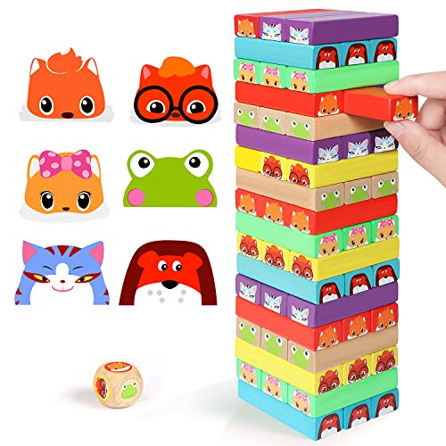 Lewo Coloured Stacking Game Wooden Building Blocks Tower Board Games for Kids Adults 54 Pieces