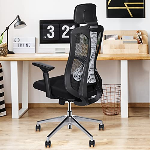 Logicfox Ergonomic Office Chair, Comfortable Office Chair with Adjustable 3D armrests, Breathable Mesh Design High Back Desk Chair with Lumbar Support, Black Office Chair