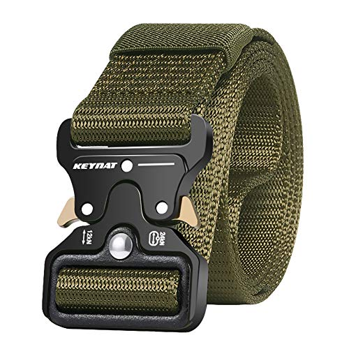 KEYNAT Cintura Militare Tattica per Uomo Heavy Duty Cintura Militare con Cintura Cintura in Nylon Resistente per Caccia Esecuzione di Esercizi Militari (verde)