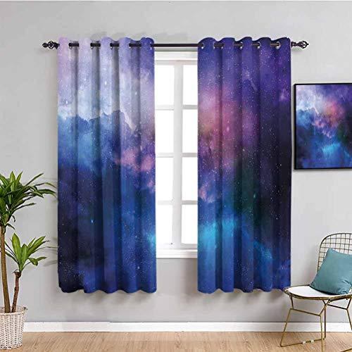 Cortina ancha extra larga con diseño de estrellas, diseño de nebulosa colorida en cosmos, interestelar, oscura, artística, cortina de café, color azul marino y morado
