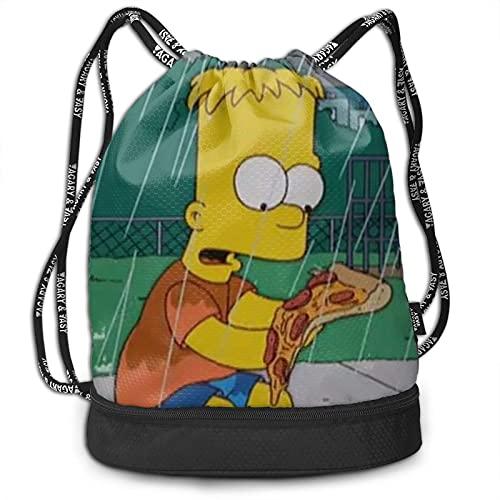 Bart Simpson - Mochila con cordón de dibujos animados, portátil, para ocio, deporte, gimnasio, viajes, almacenamiento de hombro, 15 x 16 pulgadas