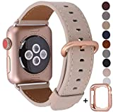 JSGJMY Compatible with Apple Watch Band 38mm 40mm 42mm 44mm Women Men Genuine Leather Replacement Strap for iWatch Series 5 4 3 2 1 (Light tan with Series 5/4/3 Rose Gold Clasp, 38mm/40mm S/M)