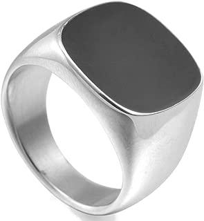 Jude Jewelers Stainless Steel Classical Simple Plain Black Enamel Signet Pinky Ring