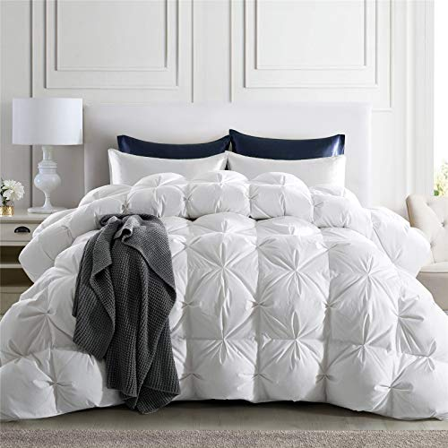 puredown 800 Fill Power Natural White Goose Down Comforter, 700 Thread Count, 100% Cotton Fabric Premium Baffle Box Pinch Pleat Design Duvet Insert Extra Warmth King Size
