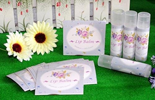 ZZYBIA selbstgemachte Hautpflegeprodukte, selbstklebende Etiketten Aufkleber für Lippenbalsam, Handcreme, Kerzen, Behälter, 20 Stück Lippenbalsam - Light Purple Floral