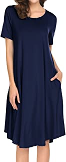 Locryz Women's Fall Casual Swing Dresses Long Sleeve T-Shirt Dress with Pockets