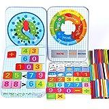 Puzzles Rompecabezas de Madera Magnética, Conteo de palos/clima/estación y cognición de reloj Niños Preescolar Madera Montessori Match Puzzle Juegos Juguetes para niños pequeños Regalos de cumpleaños