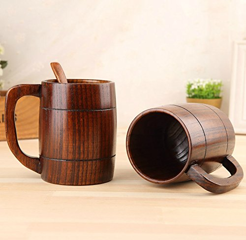 Retro Wooden Beer Mug, 16 OZ Handmade Eco-friendly Wooden Mugs With Handle For Wine/Coffee/Tea, Best Gift Cups For Men/Women (1)