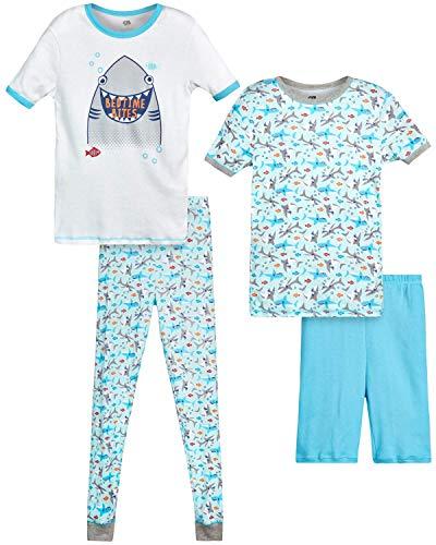 Only Boys Pajamas ? 100% Cotton Snug Fit Sleep Shorts, Joggers, and Short Sleeve T-Shirt Pajama Set (4 Piece) , Size Small - 6, Light Blue Shark