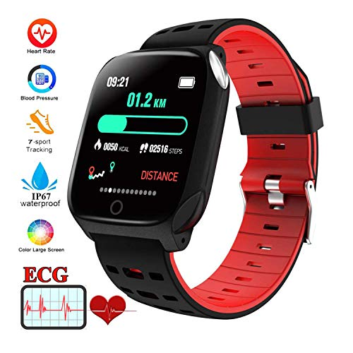 BLUEBONE Smart Watch, Fitness Tracker F16 Blood Pressure Heart Rate Sleep Monitor Pedometer Bracelet Inteligente Reminder Stopwatch Smartwatch with iOS Android Phone Best Gift for Men Women (Red)