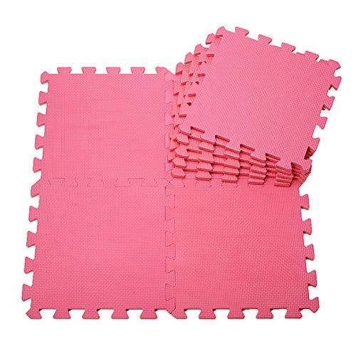 AWSAD Dalles en Mousse Moderne Doux avec Bordure Dortoir Jardin d'enfants Sol Et Bébé, Plusieurs Couleurs, 30x30x1cm (Color : A-Pink, Size : 9-Tiles)