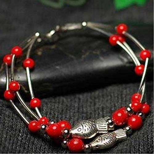 Shability Beautiful Three Rows Cute Fishes Red Cinnabar Beads Tibetan Silver Anklet Original Handmade Ethnic Jewelry yangain