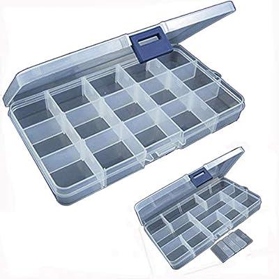 Komise 15 Slots Adjustable Plastic Fishing Lure Hook Tackle Box Storage Case Organizer