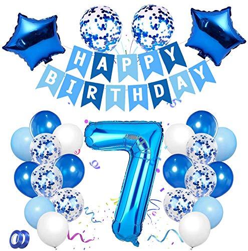 7 Anni Compleanno Decorazione, Blu Set di Palloncini Numero 7 Buon Compleanno Banner Palloncini in Lattice con Coriandoli in Lamina per Bambino Bambina