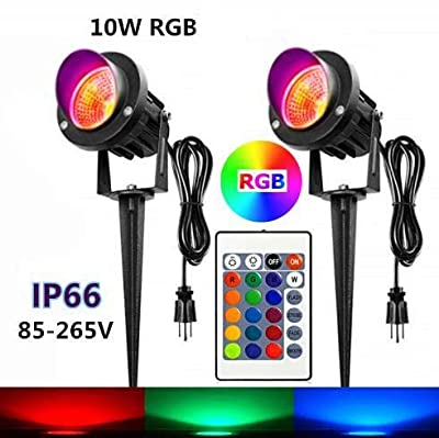 2 Pack 10W RGB LED Spotlight with Remote Control, Plug, Dimmable Color Changing Outdoor Landscape Spotlights,Garden Spotlight, IP66 Waterproof for Indoor Outdoor Decorative Garden Landscape Lighting
