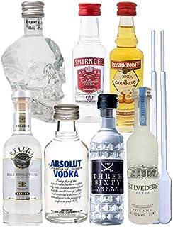 Vodka Probierset jew. 1 x 5cl Beluga Noble, 5cl Belvedere Polen, 2cl Rushkinoff Vodka & Caramel, 5cl Crystal Head, 5cl Smirnoff4cl Three Sixty, 5cl Absolut Blue  2 Einwegpipetten