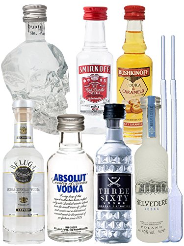 Vodka Probierset jew. 1 x 5cl Beluga Noble, 5cl Belvedere Polen, 2cl Rushkinoff Vodka & Caramel, 5cl Crystal Head, 5cl Smirnoff4cl Three Sixty, 5cl Absolut Blue + 2 Einwegpipetten