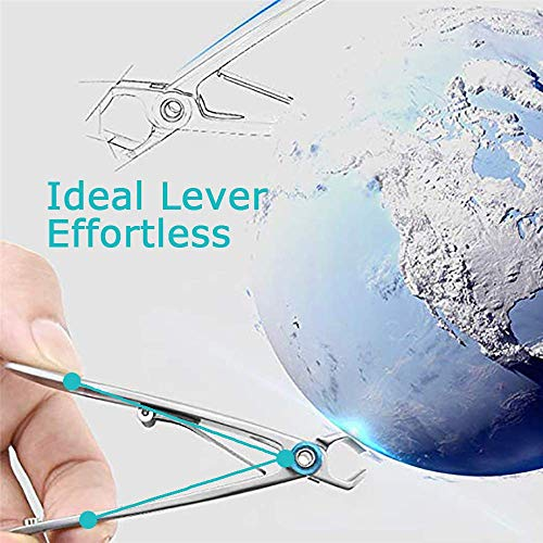 Nail Clippers - USHION 15mm Wide Jaw Opening Stainless Steel Fingernail and Toenail Clippers Cutter for Thick Nails with Fingernail File for Men & Women Big