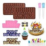 2 Stück Silikon Buchstaben Zahlen Form und Alles Gute zum Geburtstag Symbole Form mit 2...