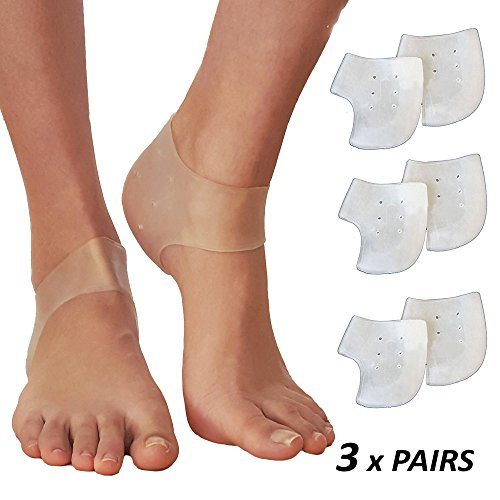 Plantar Fasciitis Inserts Heel Protectors - Silicone Gel Heel Cups Shoes Inserts, Orthotics Heel Cushion for Bone Spur & Heel Spur Pain Relief 3 Pairs of Foot Pain Plantar Fascitis Heel Sleeves - 2mm