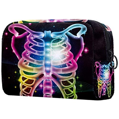 KAMEARI Bolso cosmético colorido neón Ribcage grande cosmético organizador multifuncional bolsas de viaje
