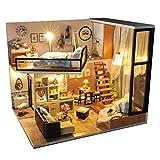 Jtoony DIY Miniatura Casa De Muñecas Casa de muñecas DIY Modelo de casa en Miniatura LED Kit de Muebles para la decoración del hogar Ilustraciones Regalo Casas de Muñecas