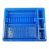 Schramm® Abtropfgestell mit Wanne in 10 Farben ca. 46 x 37 x 8 cm Abtropfgestelle Abtropfständer Abtropfschale Abtropfgitter Geschirrkorb Abtropfkorb, Farbe:dunkelblau