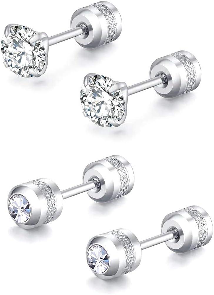 Hypoallergenic double sided diamond Stud Earrings For Womens Girl Secure Safety Screw back Cartilage CZ Stud Earrings