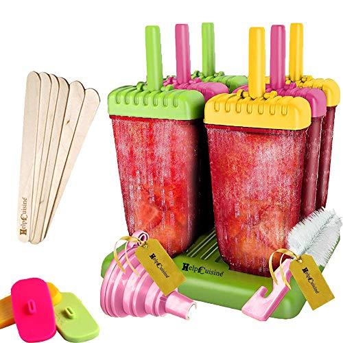 HelpCuisine® Bereiter Eis am Stiel, Wassereisformen für Kinder und Erwachsene, 6 Stück (Gelb, Grün und Lila)