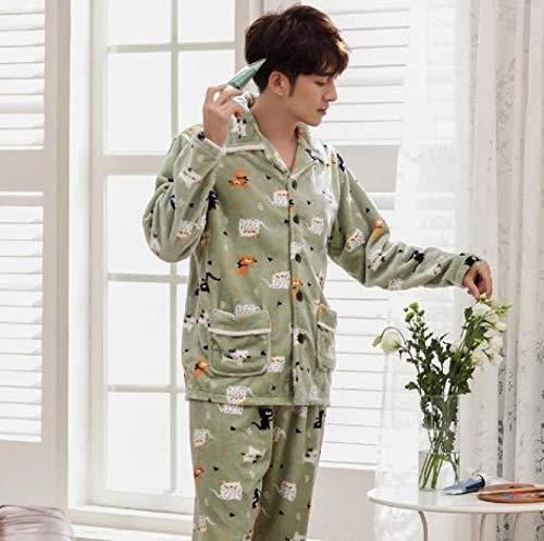 XFLOWR Traje de Noche Pijamas de Invierno Pareja Pijamas de Franela Gruesos y cálidos Conjunto de Manga Larga Cuello Vuelto Casual Tallas Grandes M-3xl Ropa de Dormir Amantes Pijama XXXL Hombres