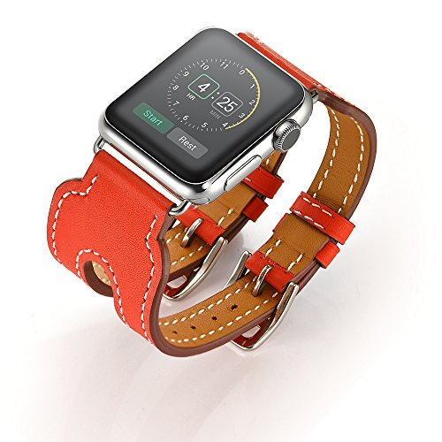 LoveBlue for Series 2 Series 1 Watch Band,Double Buckle Cuff Apple Watch Leather Band, Genuine Leather Band Bracelet Wrist Watch Band with Adapter for Apple Iwatch(38mm, Double Buckle Orangered)