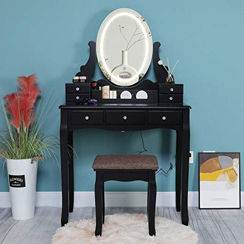 IWELL Vanity Table Set with 3 Colors Lighted Mirror, Makeup Dressing Table with 7 Drawers & Vanity Stool, Gift for Girls, Women, Makeup Vanity Desk for Bedroom, Black
