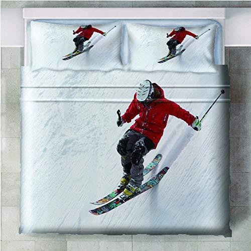 JKZHILOVE Double bedding duvet set 3 Piece 220x230cm 3D White ski resort Ultra Soft Hypoallergenic Microfiber duvet covers with Zipper Closure & Corner Ties + 2 Pillow covers 50x75cm